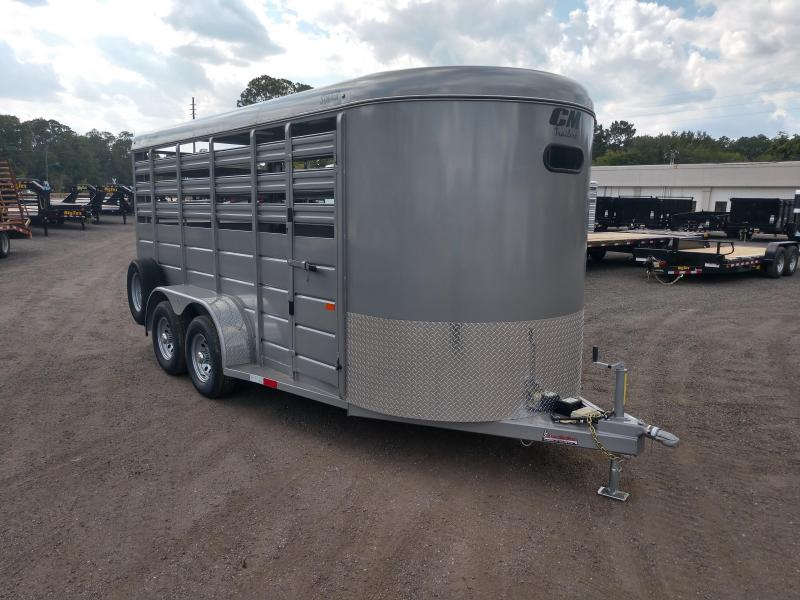CMS6630-16 CM 6' X 16' STOCKER W/ CUT GATE AND COMBO REAR GATE W/ FULL WALK OUT ESCAPE DOOR.  SHOWN WITH OPTIONAL SPARE TIRE.