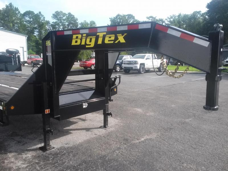 22GN-20BK + 5 BIG TEX 25' GOOSENECK DUAL TANDEM FLATBED W/ 5' FOLD UP RAMPS & FREE SPARE TIRE