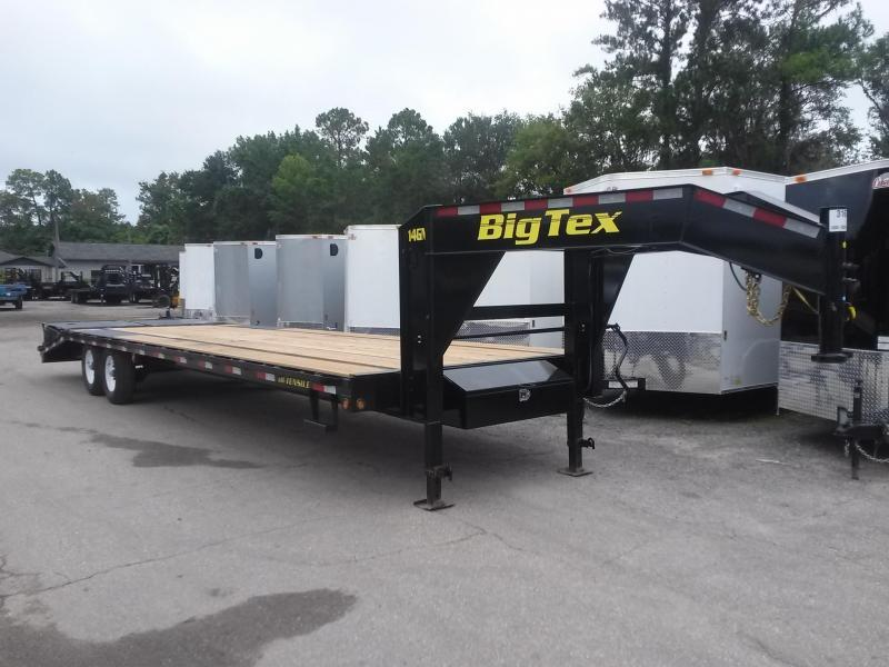 14GN-25BK+5MR BIG TEX 30' GOOSENECK TANDEM FLAT BED W/ MEGA RAMPS & FREE SPARE TIRE