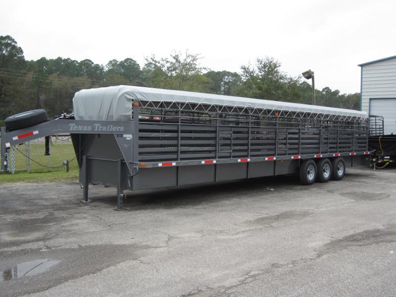 ST3621G TEXAS TRAILERS 36' GOOSENECK STOCK TRAILER W/ TRIPLE AXLES