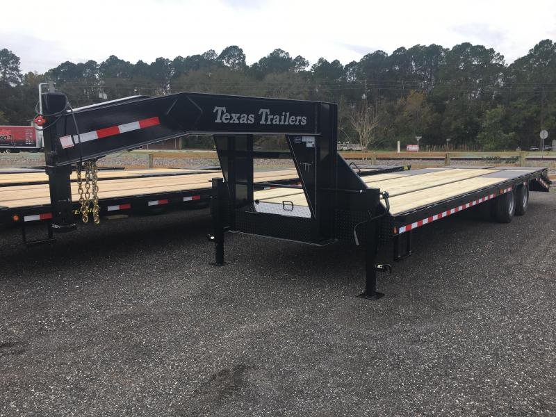 FB3024G TEXAS TRAILERS 30' GOOSENECK DECK OVER FLATBED SHOWN W/ MEGA RAMPS