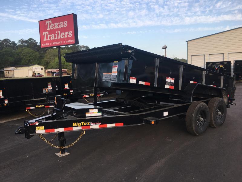 14LP-14 BIG TEX 7' X 14' DUMP TRAILER W/ TARP & COMBO REAR GATE W/ 6' SLIDE IN RAMPS