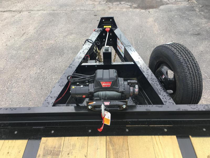 22PH-20BK+5MR BIG TEX 25' FLATBED TRAILER W/ MEGA RAMPS & 8K WARN WINCH PACKAGE