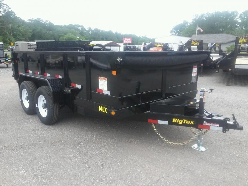 14LX-12 BIG TEX 7' X 12' DUMP TRAILER W/ 7X18 TARP & COMBO REAR GATE W/ 7' SLIDE IN RAMPS