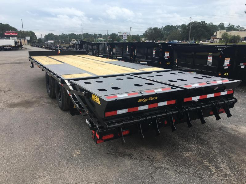 22PH-20BK+5MR BIG TEX 25' FLATBED TRAILER W/ MEGA RAMPS