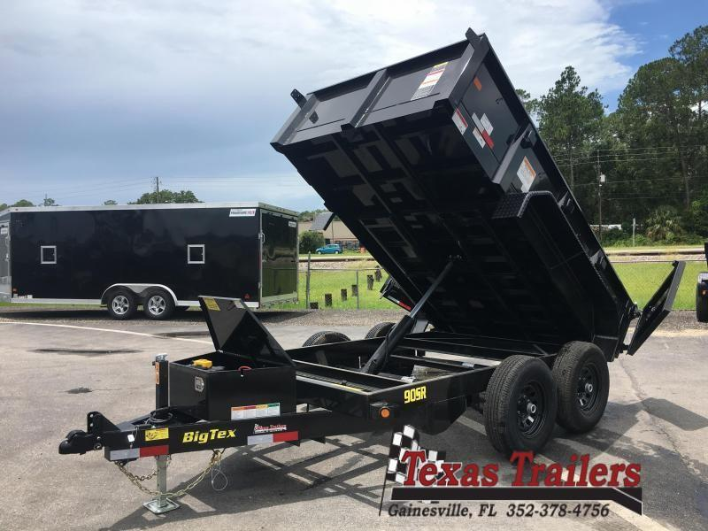 90SR-10BKBK7SIR BIG TEX 10' DUMP TRAILER W/ 7' SLIDE IN RAMPS &  REAR GATE