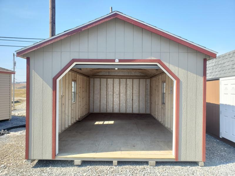14x24 Cottage Garage / Clay / Barn Red Trim / Slatestone Gray Shingles