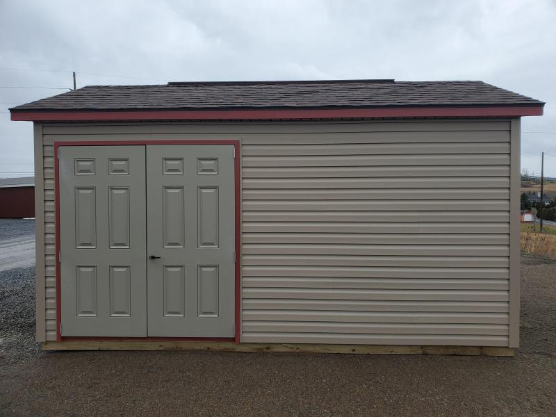 2021 Esh's 10x16 Cottage - Pebblestone Clay Vinyl Siding - Russet Red Trim - Rustic Redwood Shingles