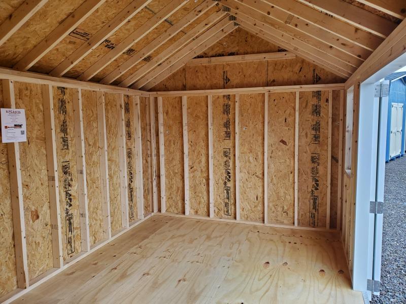 2021 Esh's 10x16 Cottage - Almond Vinyl Siding - White Trim - Rustic Black Shingles