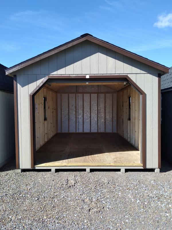 12x20 Cottage Garage / Clay / DK Brown Trim / Rustic Cedar Shingles