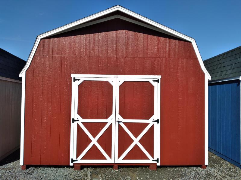 14X20 Super Barn - Barn Red - White Trim - Slatestone Gray Shingles