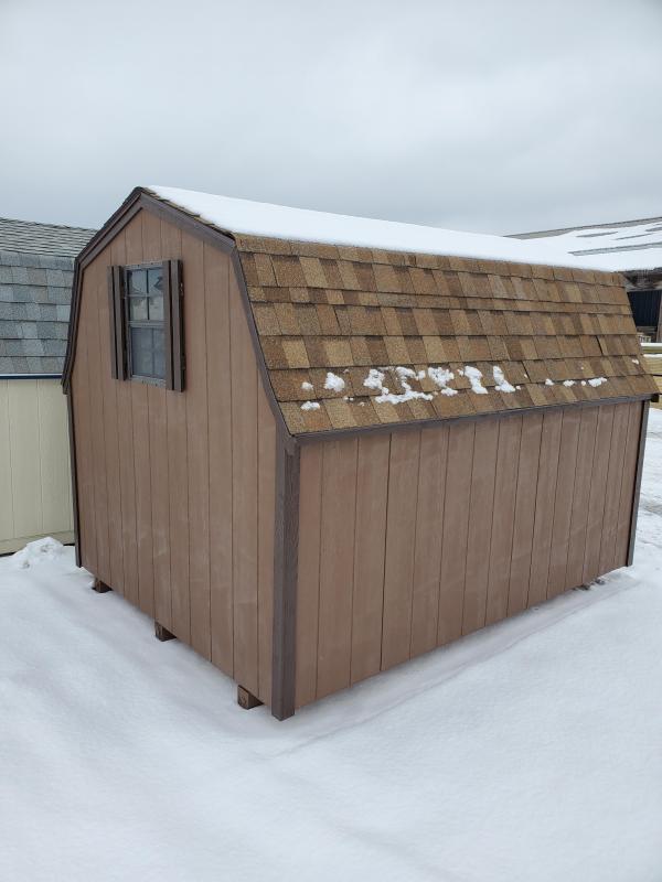 8x10 Mini Barn - Chestnut Lp Smartside - Dark Brown Trim- Rustic Cedar Shingles