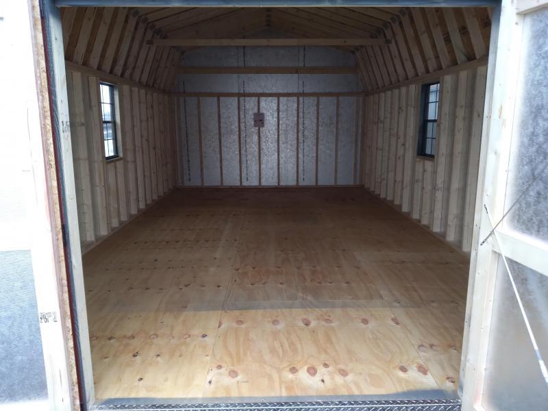 14X24 Super Barn - Grizzle Gray- Barn Red Trim - Slatestone Shingles