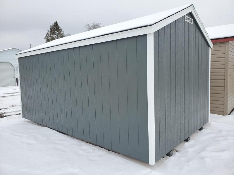 10x16 Value Line - Grizzle Gray Lp Smartside - White Trim- Rustic Black Shingles