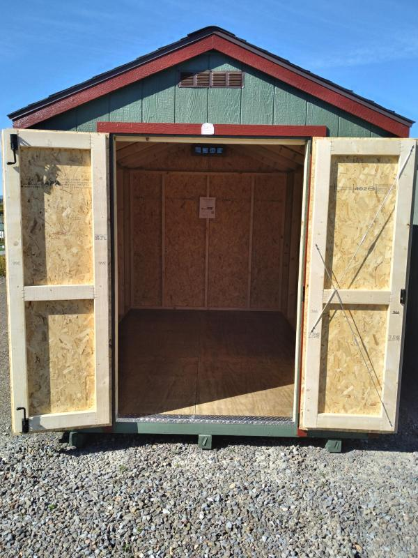 8x12 Value Line / Rosemary / Barn Red Trim / Rustic Cedar Shingles