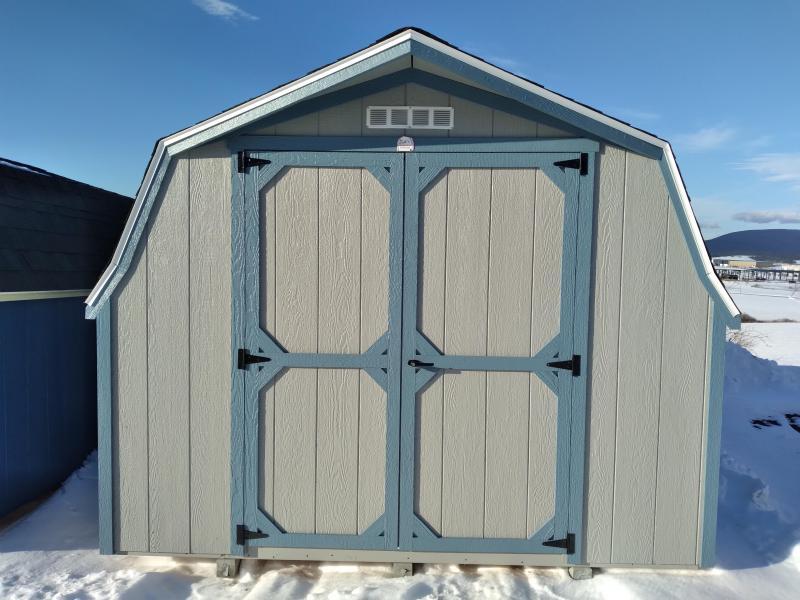 10X14 Mini Barn - Light Gray - Reihl Blue Trim - Olde English Pewter Shingles