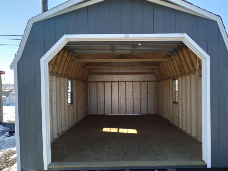 14X24 Super Barn Garage - Grizzle Gray - White Trim - Rustic Black Shingles