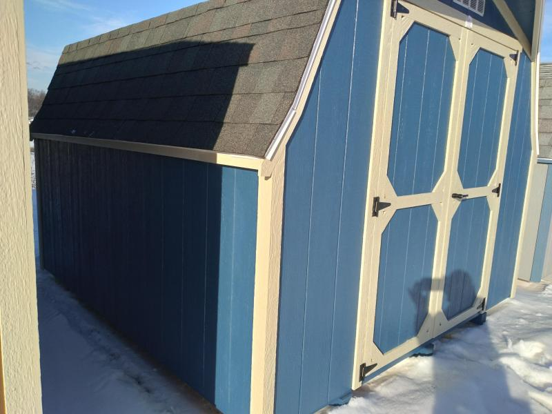 10X10 Mini Barn - Endless Sea - Beige Trim - Slatestone Gray Shingles