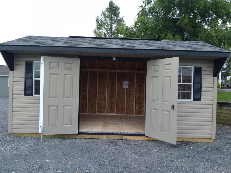 10x18 Quaker / Pebblestone Clay / Black Trim / Rustic black Shingles / Doors Painted Black