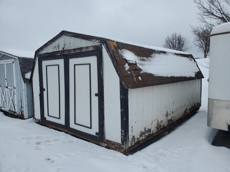 12x16 Mini Barn - White - Black Trim - Brown Shingles - Shelf