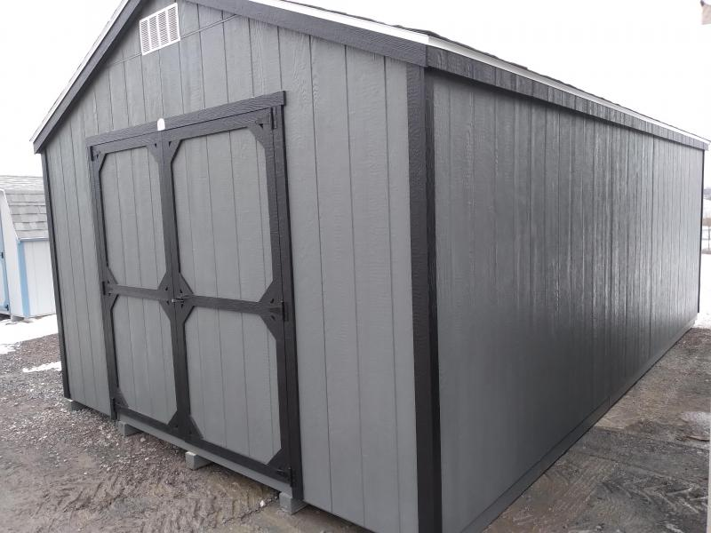 12X20 Value Line - Grizzle Gray - Black Trim - Rustic Black Shingles