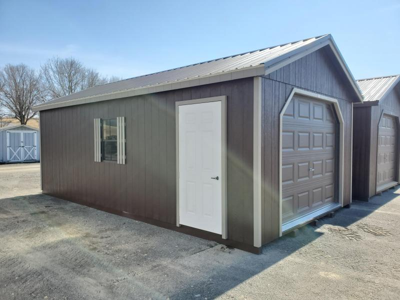 14x24 Cottage Garage / DK Brown / Clay Trim / Burnish Slate Metal Roof
