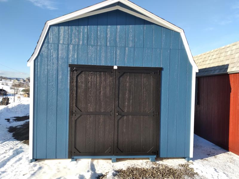 12X20 Super Barn - Endless Sea - White Trim - Rustic Black Shingles