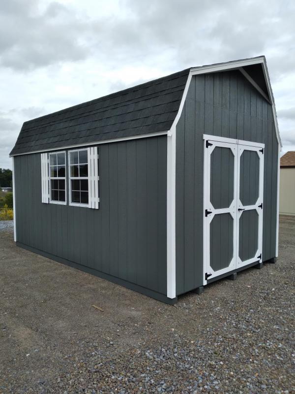10x16 Super Barn / Grizzle Gray / White Trim / Black Shingles / 6' Loft