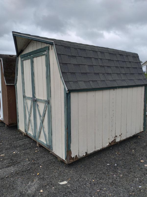 8x8 Mini Barn / Beige / Green / Dark Gray Shingle