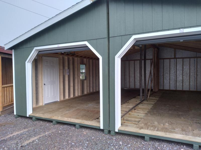 "2021 Double Wide Garage / 24'x28' / Rosemary / White Trim / Olde English Pewter Shingles /(2) 9'x7' Garage Doors / (2) 24""x36"" Windows / Side Entry- Door"