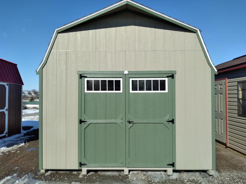 12X24 Super Barn - Clay - Rosemary Trim - Rustic Cedar Shingles