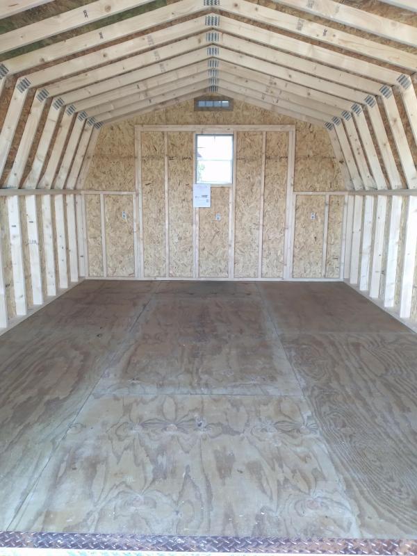 12x16 Mini Barn / Hunter Green / Country Green Trim / Rustic Evergreen Shingles