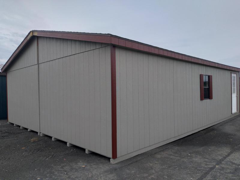 24x32 Double Wide Garage / Clay / Barn Red Trim / (2) 9x7 Garage doors / (3) 24x36 Windows / Pre-hung man door with 9-Lite Glass