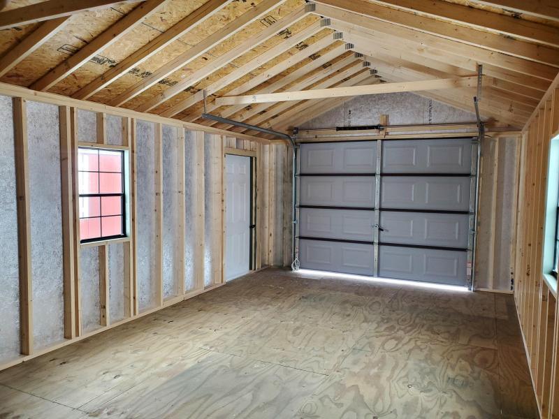 14x24 Cottage Garage - Rosemary - DK Brown Trim - Rustic Cedar Shingles - 9x7 Brown Garage Door