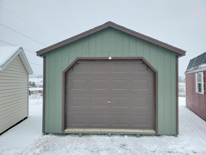 14x24 Cottage Garage - Rosemary - DK Brown Trim - Rustic Cedar Shingles - 9x7 Brown Garage Door