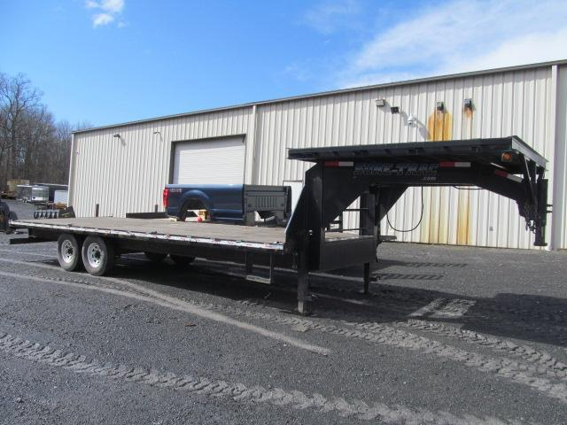 2013 Sure-Trac Deckover 24 Ft Gooseneck Flatbed Equipment Trailer