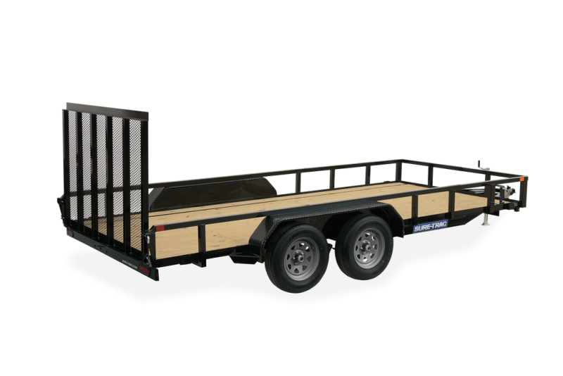 Sure-Trac 7 x 18 Tube Top Utility Trailer  7K Tand