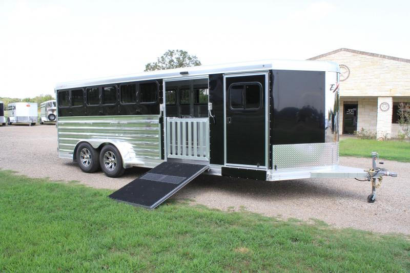 2021 Exiss Trailers 8 Pen Low Pro Bumper Pull with Side Ramp Livestock Trailer