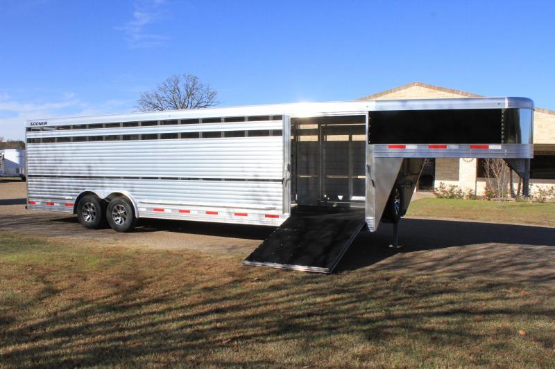 2021 Sooner 28ft x 8ft Show Cattle Stock with Side Ramp Livestock Trailer