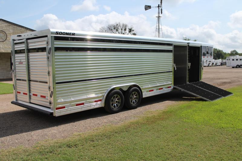 2022 Sooner 28ft x 8ft Show Cattle with Two Side Ramps Livestock Trailer