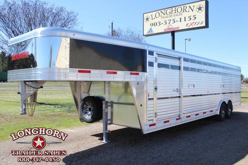 2021 Sooner 28ft x 8ft Show Cattle Stock Trailer with Ramp