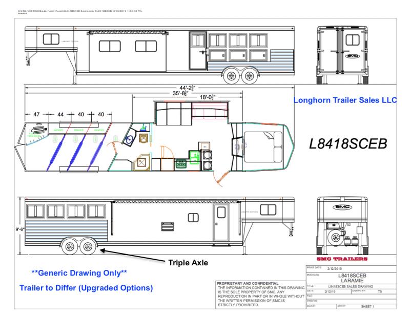 2021 SMC  4 Horse 18ft Living Quarter with 12ft Slide