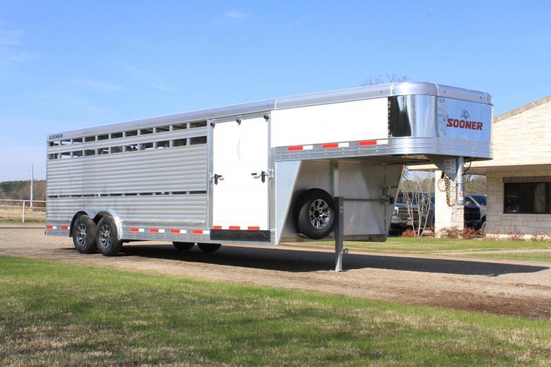 2021 Sooner 24ft x 8ft Show Cattle Stock with Side Ramp Livestock Trailer