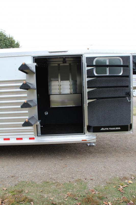 2021 Elite Trailers 22ft Roper Special with Swing Out Saddle Rack Livestock Trailer