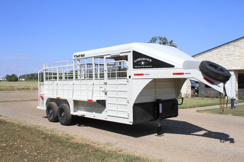 2022 Swift Built 18ft Stock Trailer with 1/2 Metal Top Livestock Trailer