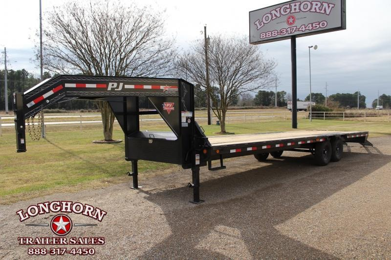2021 PJ 28ft Flat Bed with Pull Out Ramps Flatbed Trailer