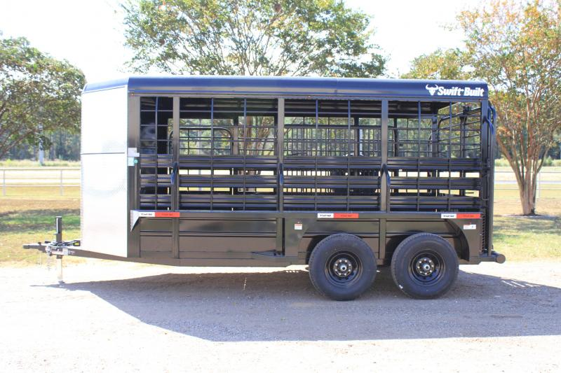 2022 Swift Built Trailers 16ft Stock Trailer with Full Metal Top Livestock Trailer