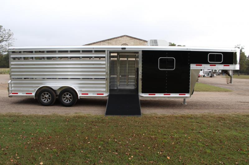 2021 Exiss Trailers 24ft Show Cattle Combo with Bunk Beds Livestock Trailer