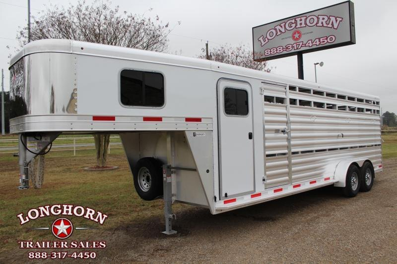2021 Exiss Trailers 24ft Stock Combo with 4ft Tack Room Livestock Trailer