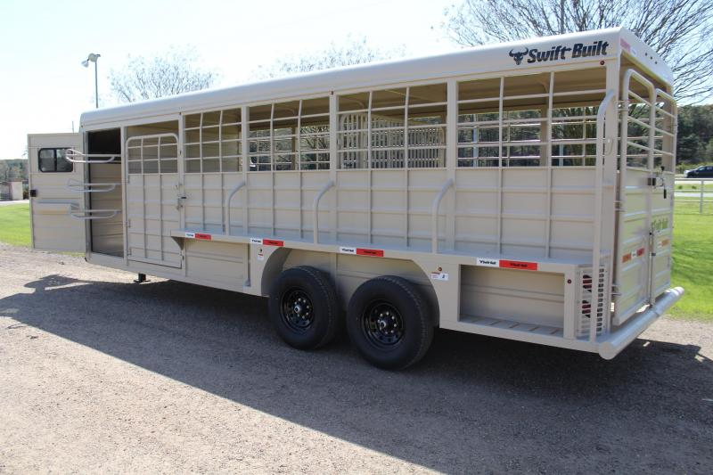 2022 Swift Built Trailers 24ft Stock Combo with 4ft Tack Double Doors Livestock Trailer